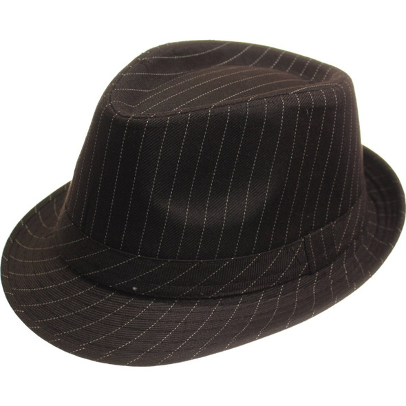 12 PACK Gangster Pinstripe Fedora Hats Brown 1319 Adult Size