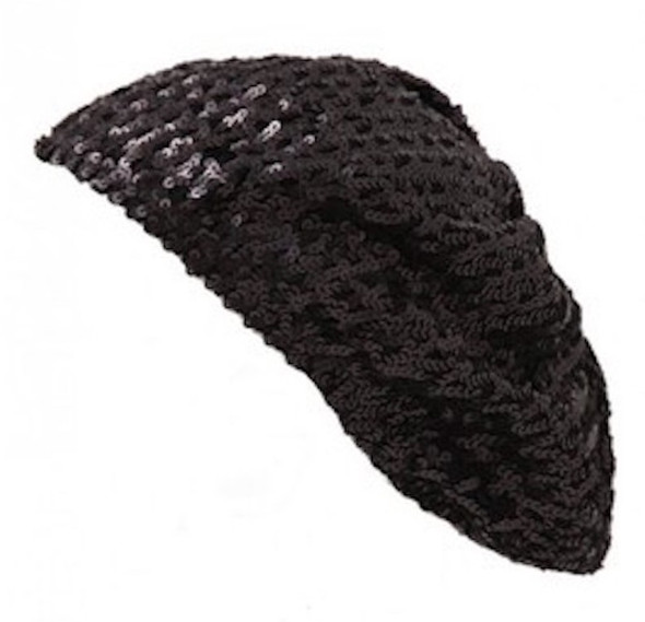 Black Sequined Sparkle Berets 1377