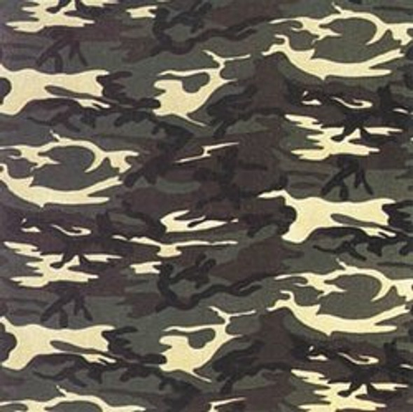 "Camouflage Bandanna Green 22"" Square Standard 100% Cotton 12 PACK 1975"