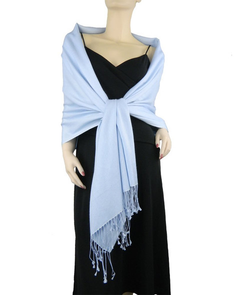Light Blue Pashmina Shawl 12 PACK 100% Fine Wool Mix 2124
