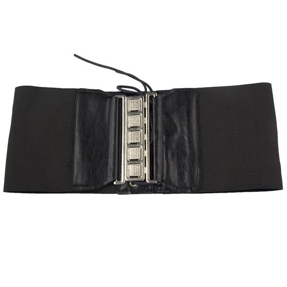 "Corset Cinch Belt Black Elastic Stretch 4.5"" Wide 2202"