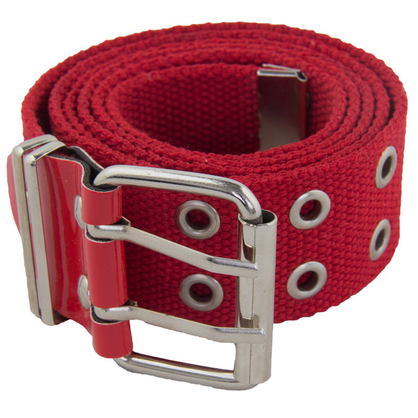 Grommet Belts Red Canvas Two Hole Silver Mix Sizes 12 PACK 2292A
