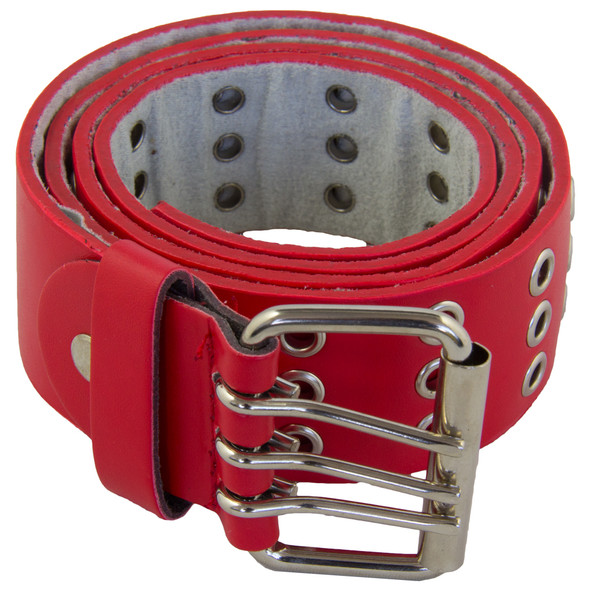 Punk Belts Red Three Rows Metal Holes Mix Sizes 12 PACK 2480A