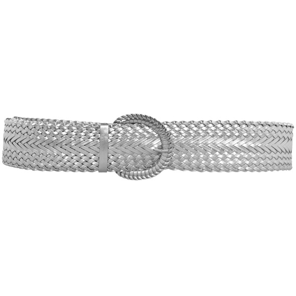 12 PACK Silver Diva Wide Braided Belts Mix Sizes 2736A