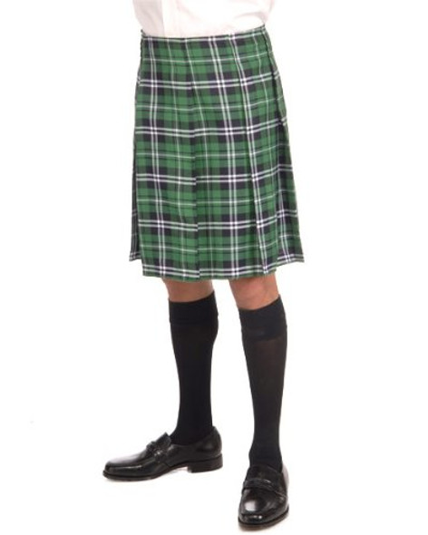 St Patricks Day Adult Green Plaid Kilt 4487