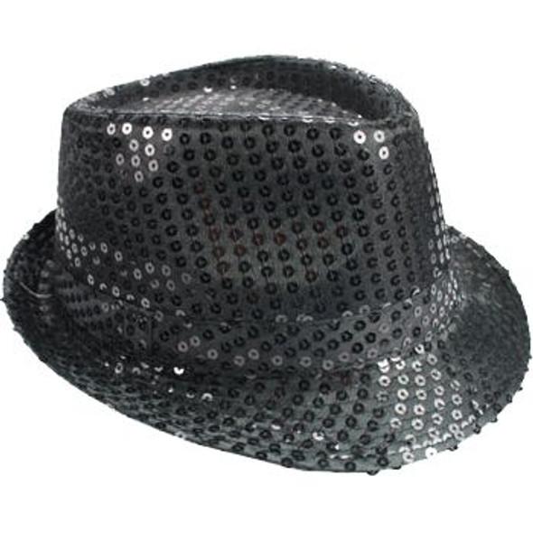 Black Sequin Fedora Hat 5910
