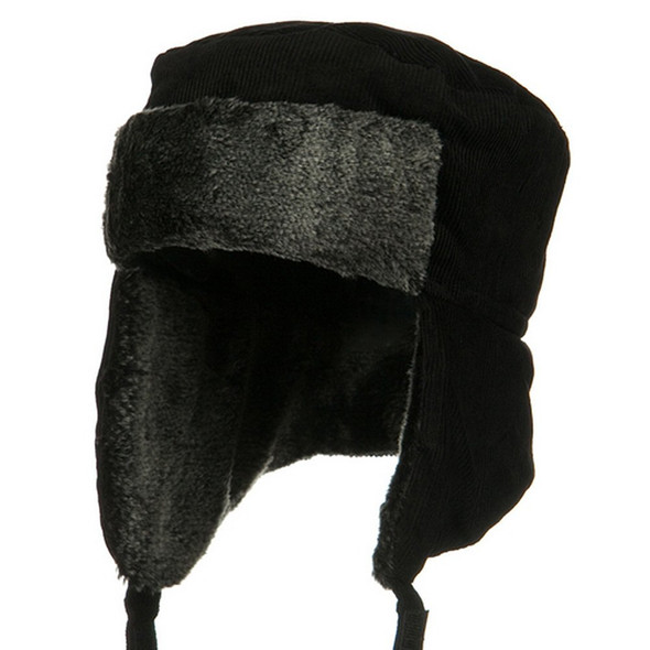 Black Corduroy Winter Hat with Grey Fur 5829