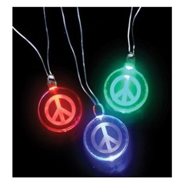 Light Up Peace Sign Necklace ( Mixed Colors) 6554