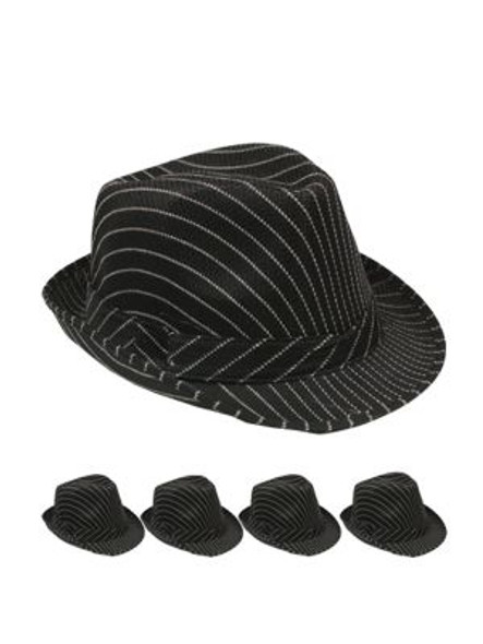 Black Funky Fedora Hat - 12 PACK Felt Adult Size