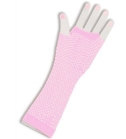 Fishnet Gloves Long Light Pink 1248
