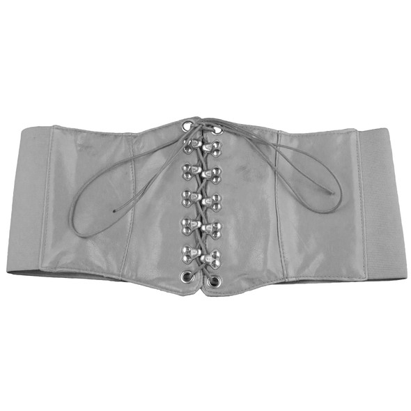 Ultra Wide Silver Patent Leather Stretch Cinch Belt 2720