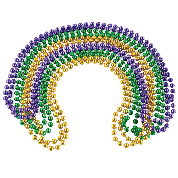 Mardi Gras Beads Bulk 12 PACK 7mm Mixed 6525