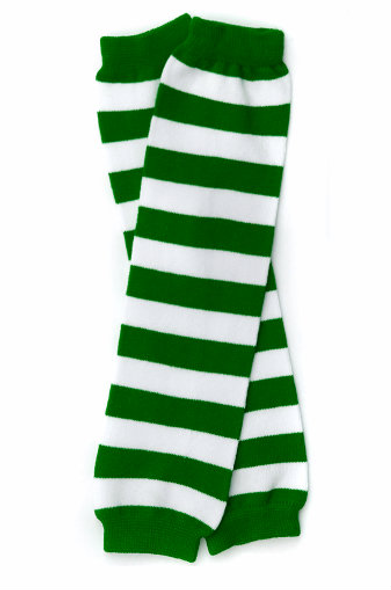 Kids St Patricks Legwarmers | Green/White Striped 5203 -