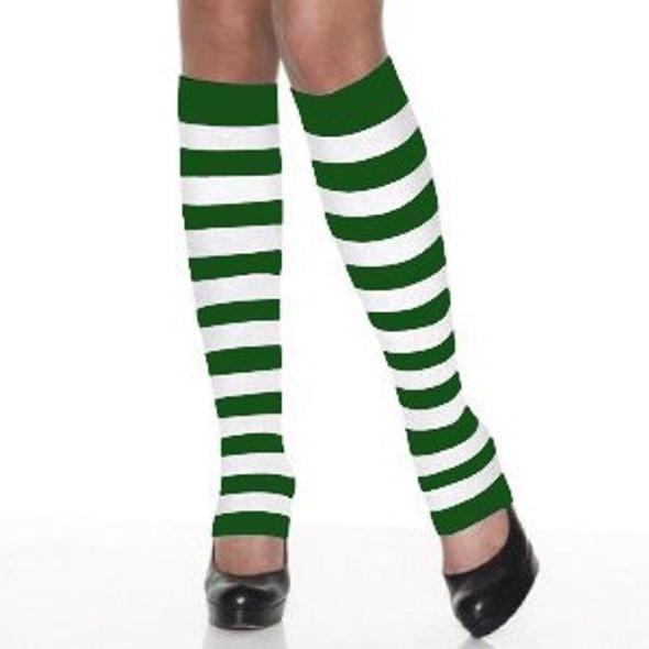Kids St Patricks Legwarmers | PAIR Green/White Striped 5203 -