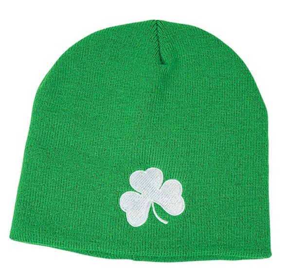 St. Patricks Day Shamrock Green Beanie Hat 5961 12 PACK