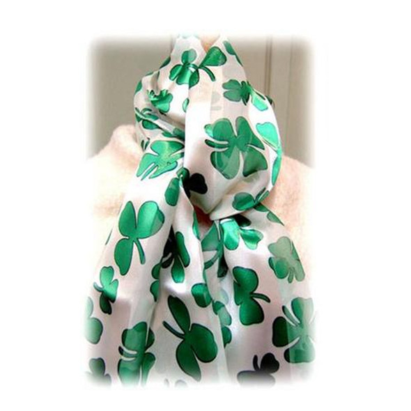 St. Patricks Day White and Green Shamrock Scarf 1907