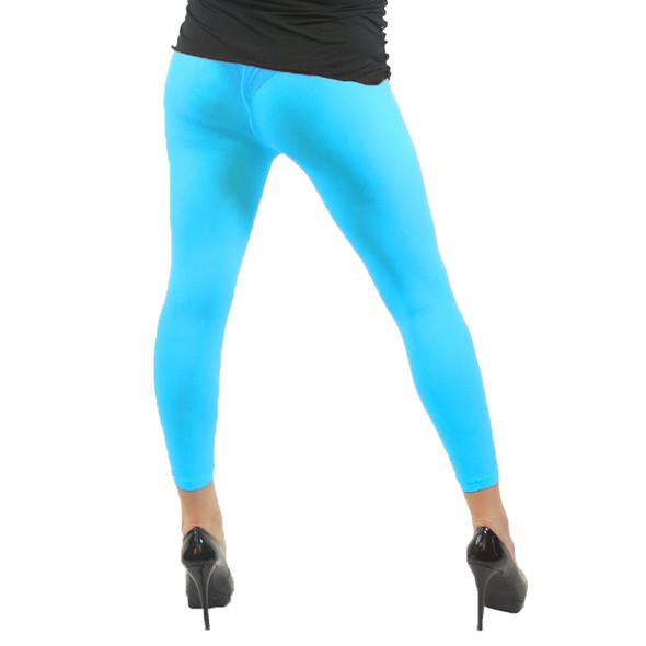 Neon Blue Footless Leggings 8088