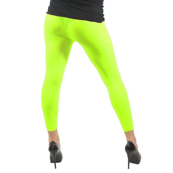 Neon Yellow Footless Leggings 8087