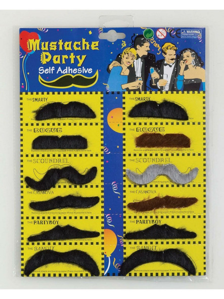 Realistic Fake Mustaches | Stick on Mustaches |  12 PACK 1693