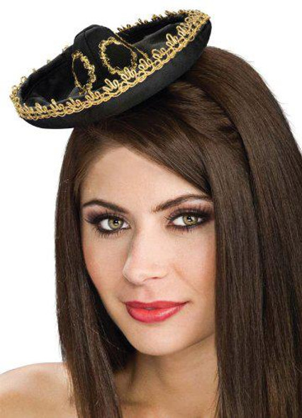 Black/Gold Mini Mariachi Sombrero Hat 6663