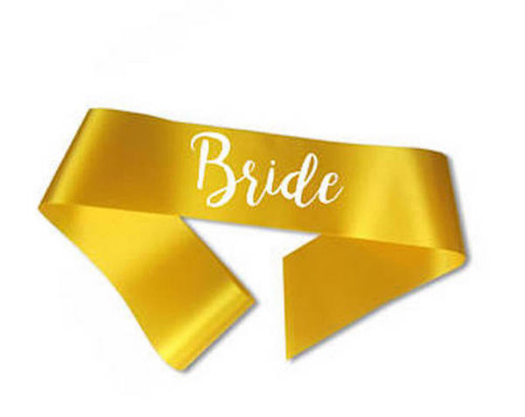 "Custom Pageant Wedding Gold Satin Sashes 60"" 6855 (Fonts in Picture Gallery)"