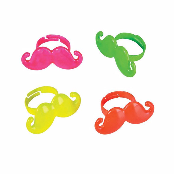 Colorful Mustache Rings Mixed Colors 48 PACK