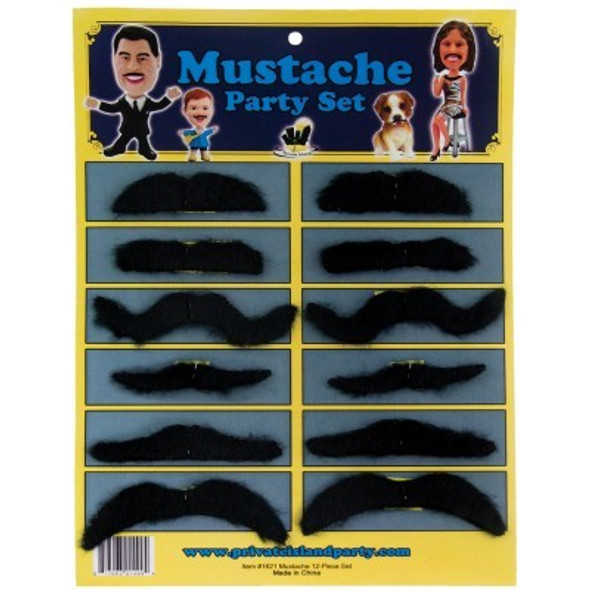 Fake Bulk Mustaches   12 PACK 1618