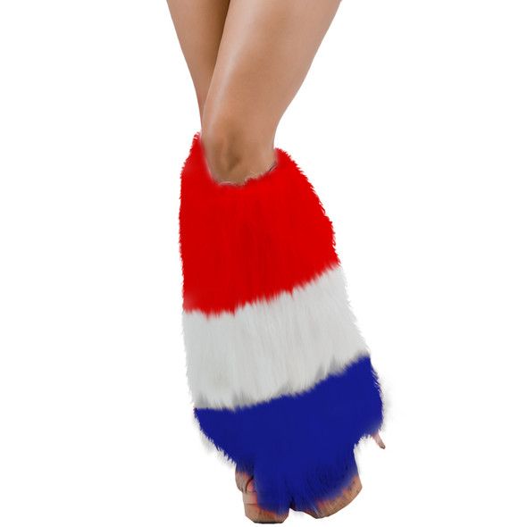 Furry Leg Warmers Patriotic USA Red White & Blue 6758