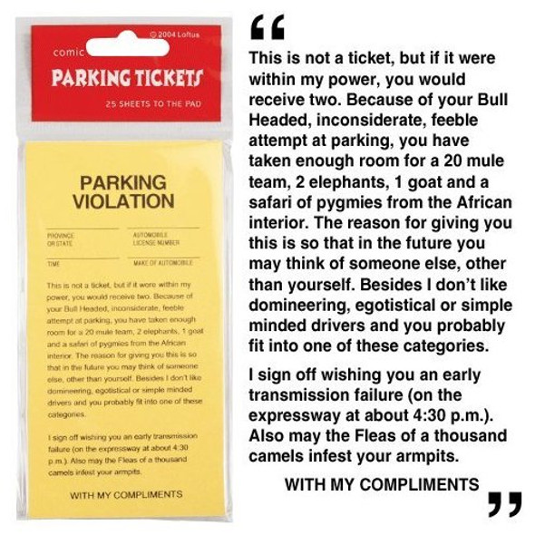 Fake Parking Tickets 100 Pack 9125