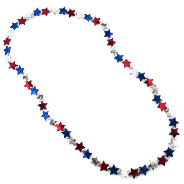 Red, Blue & Silver Star Necklace 6597