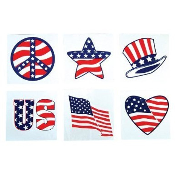USA Temporary Tattoos Patriotic Bulk- 144pcs  9132