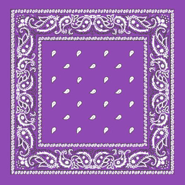 "Purple Bandana 22"" Square Standard 100% Cotton 12 PACK 1918D"