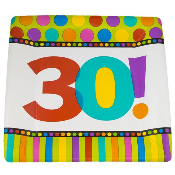 "30th Birthday Square Paper Plates 10"" 8 PC STANDARD 3803"