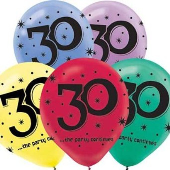 Birthday Balloons 30 Years The Party Continues Latex 3806
