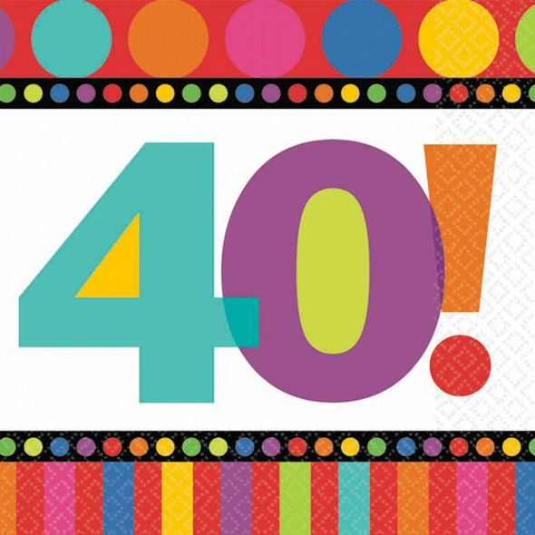 Birthday Napkins 40th Birthday Dots and Stripes Pattern 3807