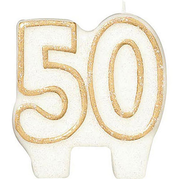 50th Birthday Candle Glitter 3819