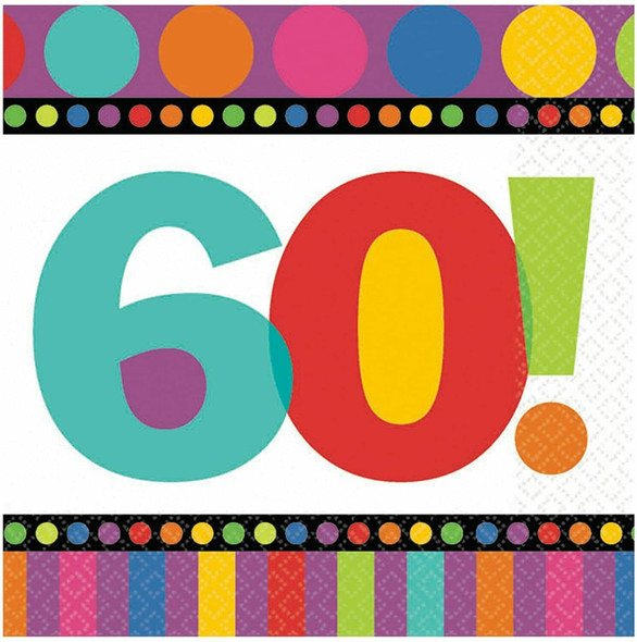 Birthday Napkins 60th Birthday 16 PC Standard 3812