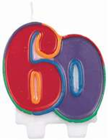 60th Birthday Candle Flat Molded 3824