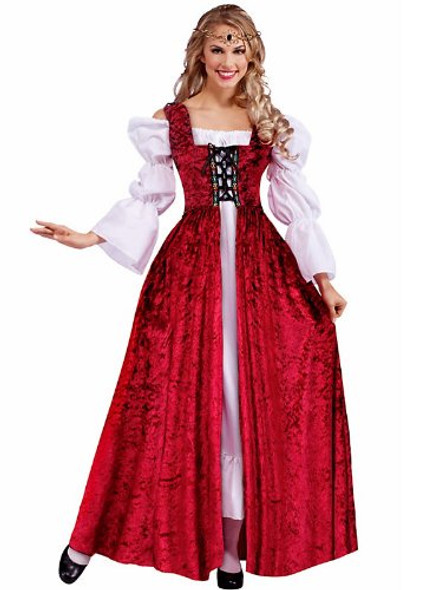Elegant Medieval Lace Up Adult Costume Gown - Standard