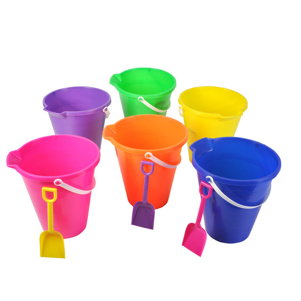 "Beach Buckets pail with shovel 8"" 12-Pack 9157"