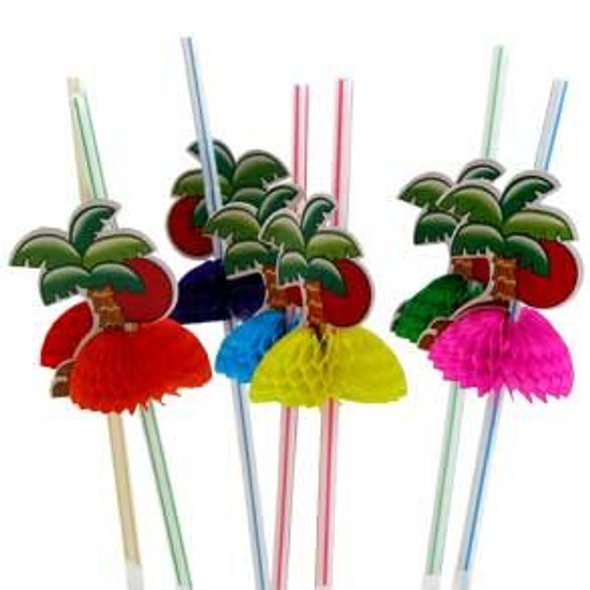 Luau Hawaiian Straws Palm Trees 12 PACK Pack 3829