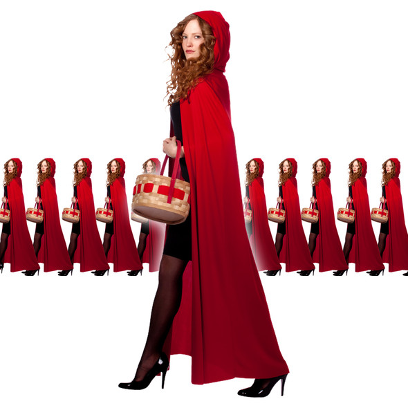 Red Long Velvet Hooded Cloak 12 PACK 4545D