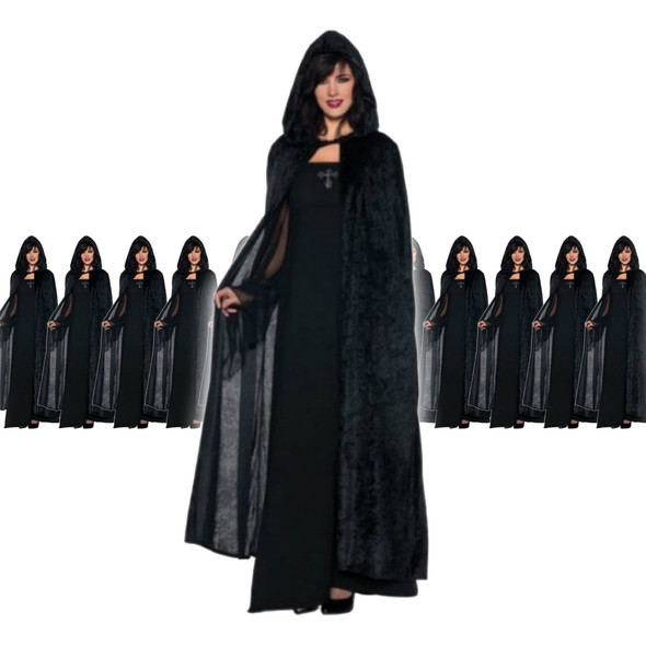 Black Long Velvet Hooded Cloak 12 PACK 4546D