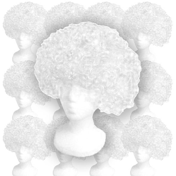 White Costume Afro Wig 12 PACK 6016D