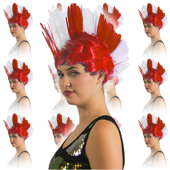 Red and White Mohawk Wig 12PK 6027D