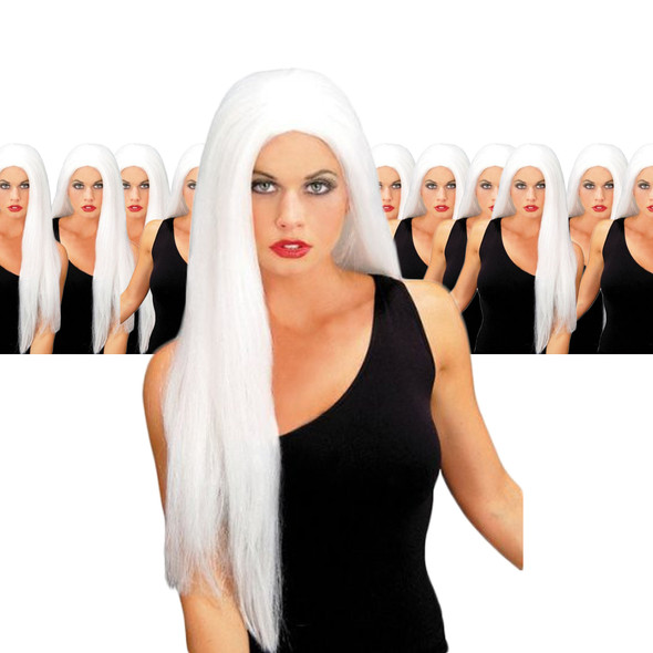 White 24 Inch Wicked Straight Wig 12PK  6049D