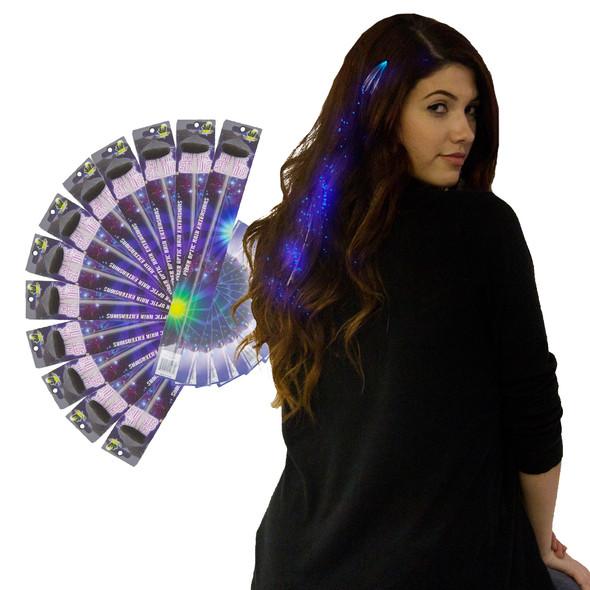 Blue Starlight Fiber Optic Hair Extensions  Dozen 6166D