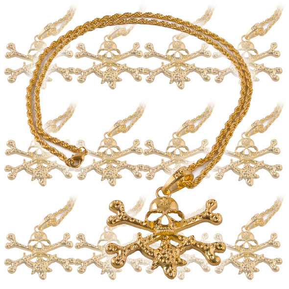 Pirate Skull Necklace Gold 12 PACK 6564D