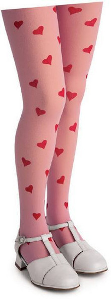 Pink Child Tights with Red Love Hearts 12 PACK 8006D