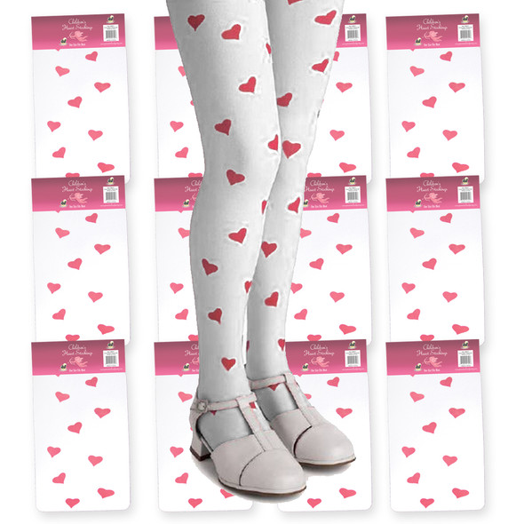 White Child Tights with Pink Hearts 12 PACK 8007D